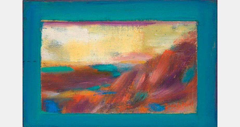 Jean Le Moal, Sans titre, vers 1990, huile sur toile marouflée sur contreplaqué, 19x28 cm, collection particulière