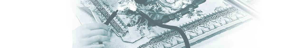 Élève restauratrice en atelier « Arts graphiques » sur son œuvre de mémoire de fin d'études : conservation-restauration d'un papier peint de la fin du XVIIIe siècle (musée des Arts décoratifs). © Arthur Laforge - Production Studio13 Paris.