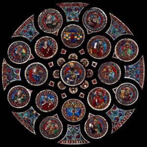 Le vitrail d'une des roses gothiques
