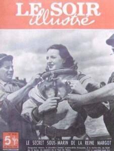 """Le Soir Illustré du 10 février 1949, """"Le secret sous-marin de la reine Margot : Jacqueline Morris, la première femme scaphandrier française, à la recherche au fond de la Seine, du mystère de la Tour de Nesle""""."""