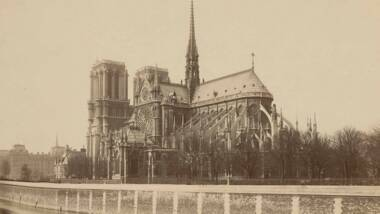 """Médéric Mieusement (1840-1905), """"La cathédrale Notre-Dame prise du sud-est depuis le quai de Montebello"""" (1892)"""