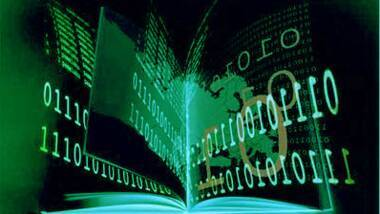 Visuel d'un livre ouvert stylisé avec des inscriptions binaires