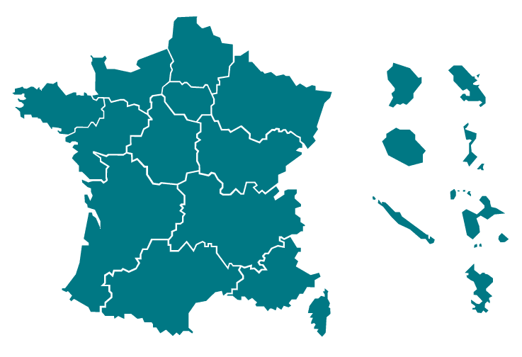 Carte des Directions régionales des affaires culturelles et informations de contact