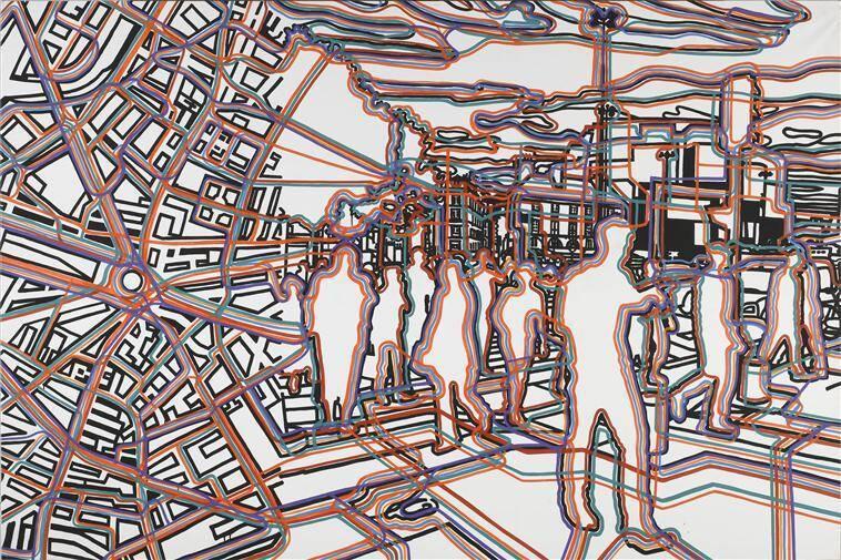 Fromanger Gérard, Bastille réseaux, peinture à l'huile, peinture acrylique, 2007, Paris, Centre Pompidou - Musée national d'art moderne - Centre de création industrielle, Photo (C) Centre Pompidou, MNAM-CCI, Dist. RMN-Grand Palais / Philippe Migeat