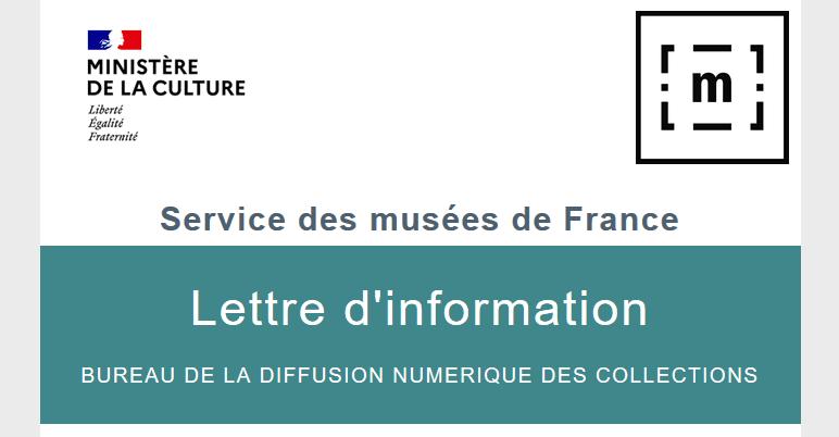 Visuel de la lettre d'information du bureau de la diffusion numérique des collections, Service des musées de France