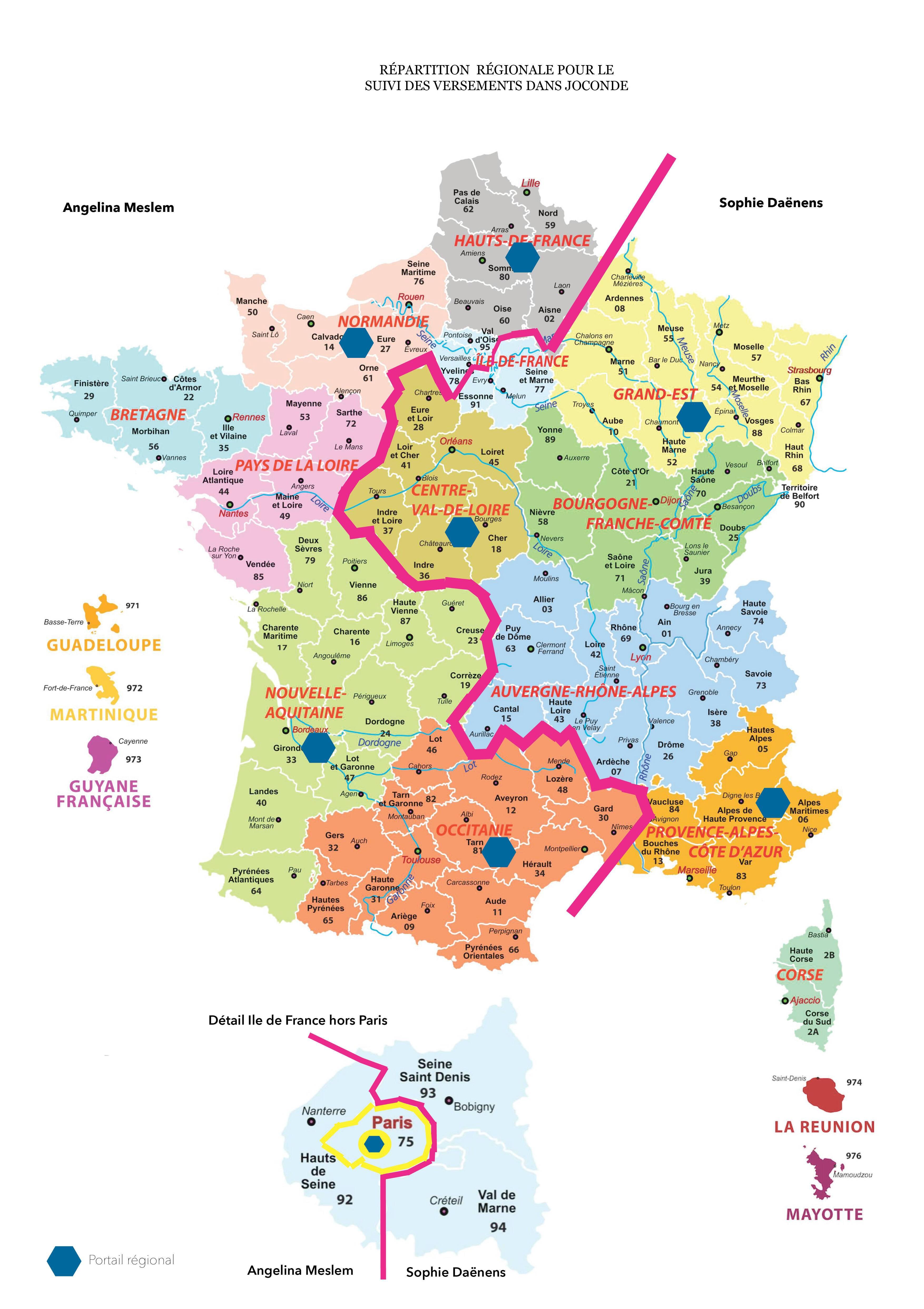 Répartition géographique du suivi des versements des musées de France sur Joconde