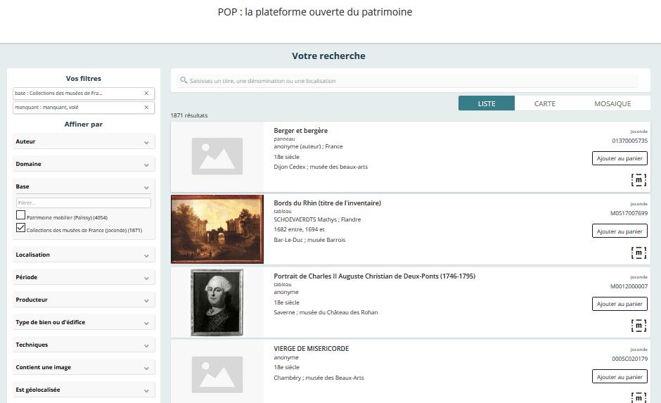 Visuel du catalogue des biens manquants sur Joconde, le catalogue collectif des collections des musées de France