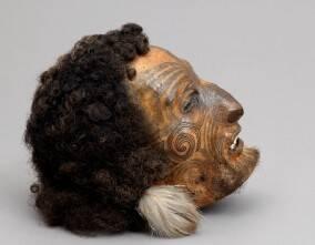 Tête maorie momifiée, collection du musée national de la marine