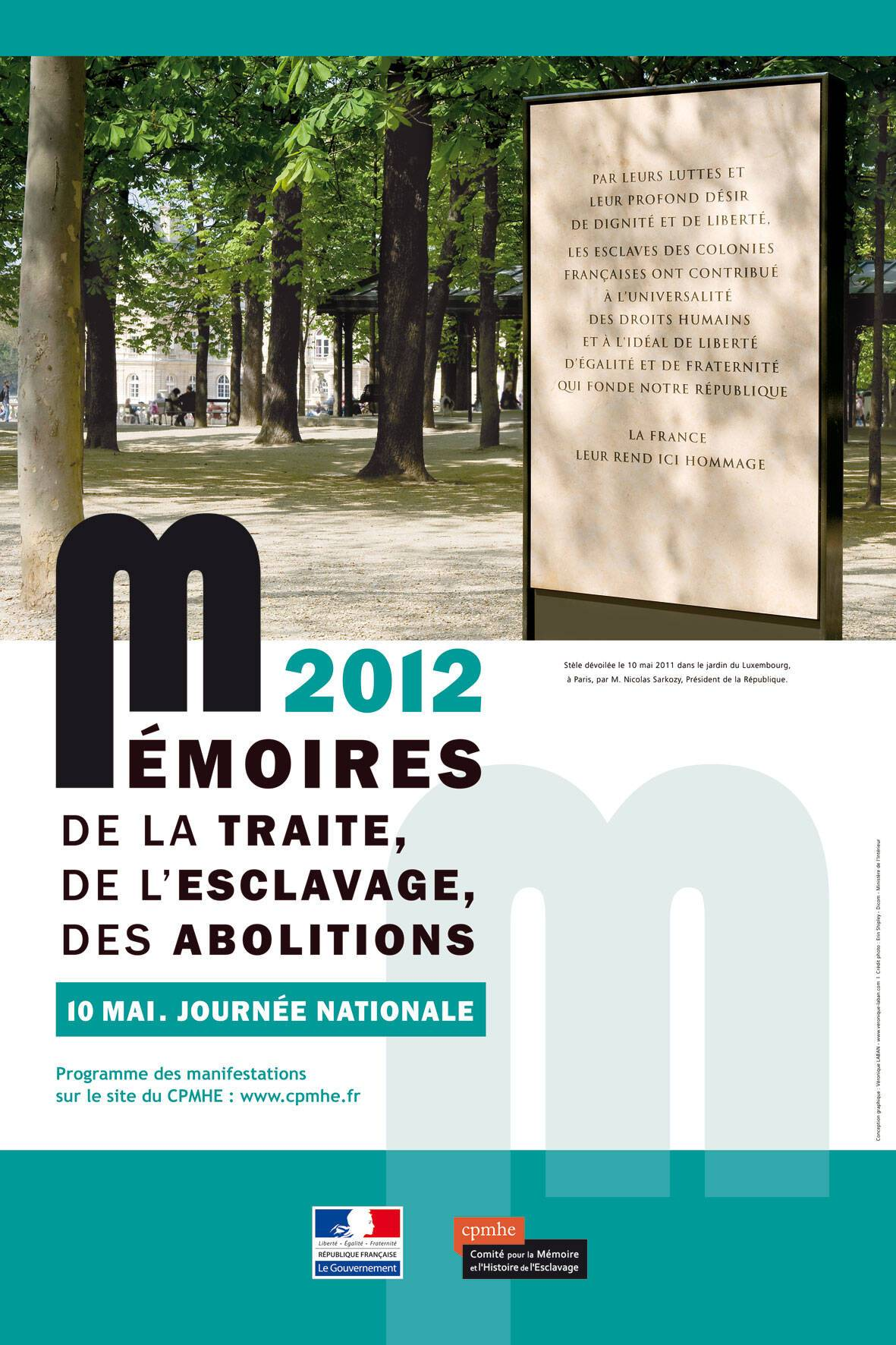 Affiche de la JOURNEE NATIONALE DES MEMOIRES DE LA TRAITE,  DE L'ESCLAVAGE ET DE LEURS ABOLITIONS