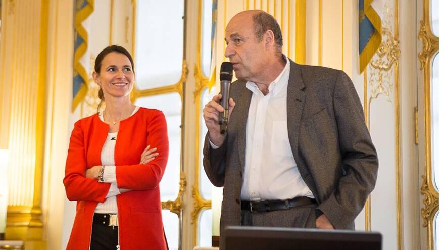 Aurélie Filippetti et Jean-Louis Cohen lors de la présentation du Pavillon français