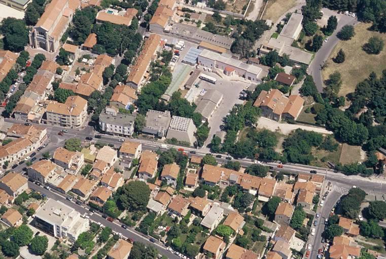 Synagogue Tiferet Israël - Marseille, vue aérienne prise du sud