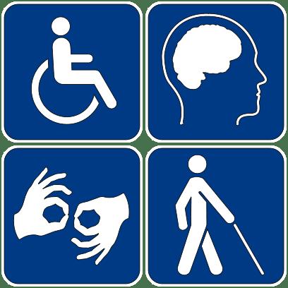 Pictogrammes illustrant diverses formes de handicap