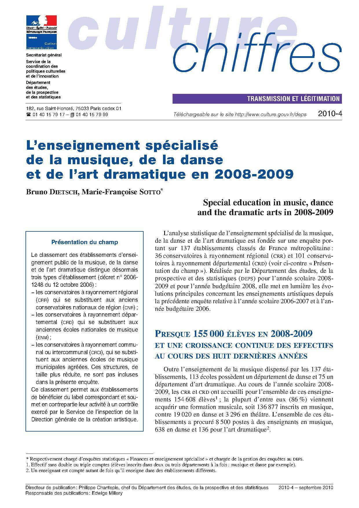 L'enseignement spécialisé de la musique, de la danse et de l'art dramatique en 2008-2009
