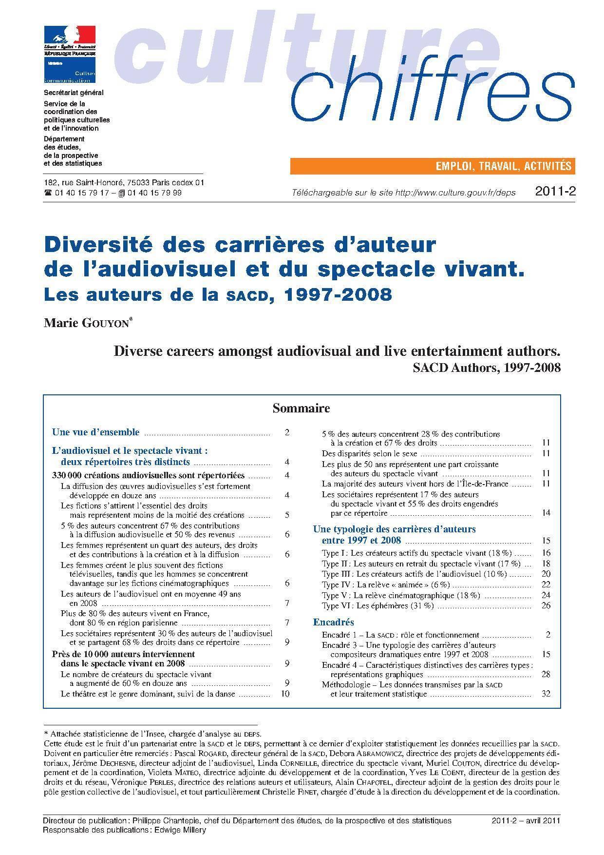 Diversité des carrières d'auteur de l'audiovisuel et du spectacle vivant. Les auteurs de la SACD, 1997-2008