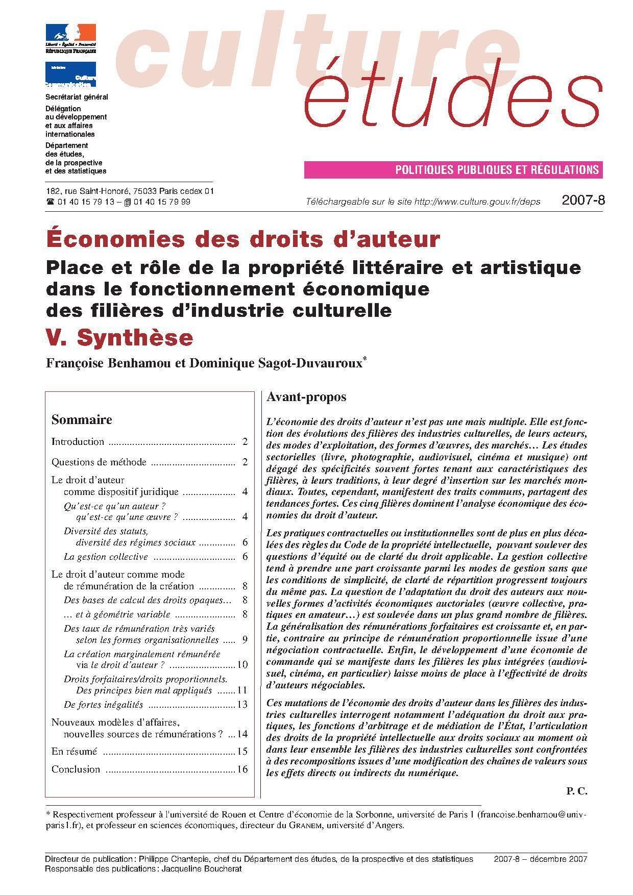 V. Économies des droits d'auteur : Synthèse