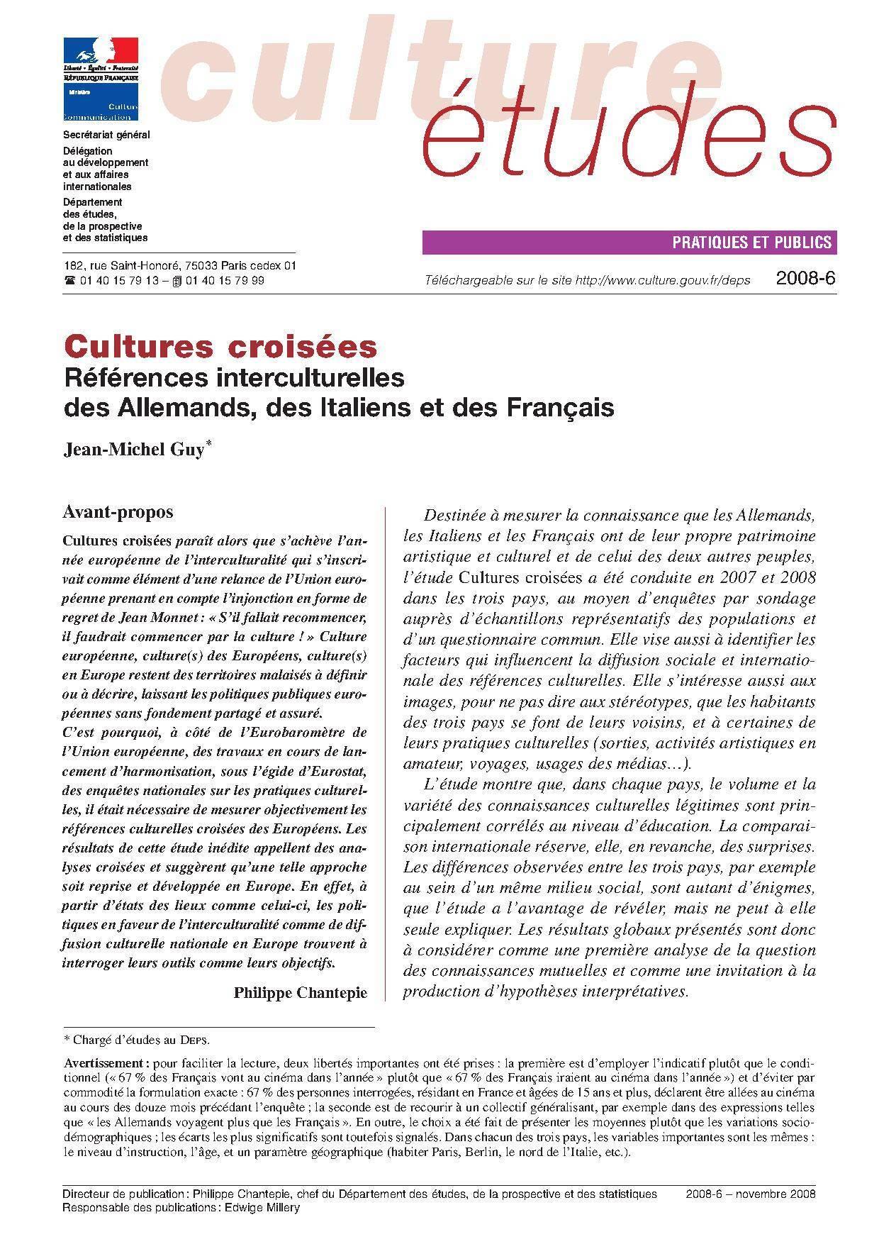 Cultures croisées – Références interculturelles des Allemands, des Italiens et des Français