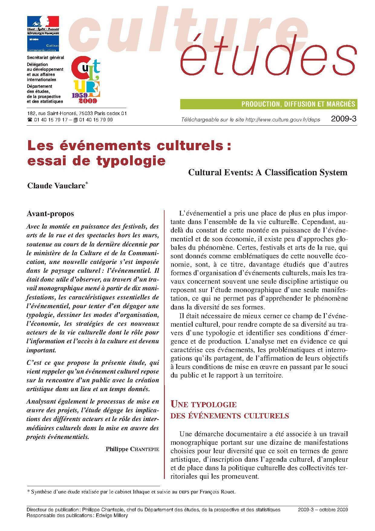 Les Événements culturels : essai de typologie