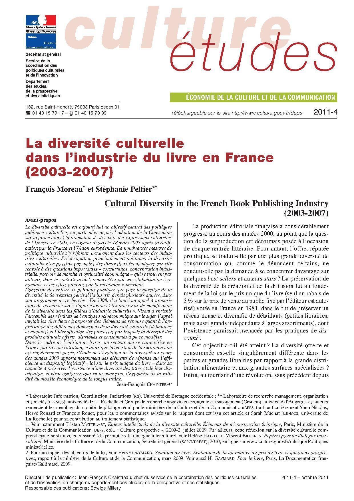 La diversité culturelle dans l'industrie du livre en France (2003-2007)