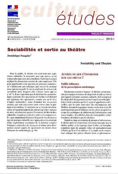 Sociabilités et sortie au théâtre