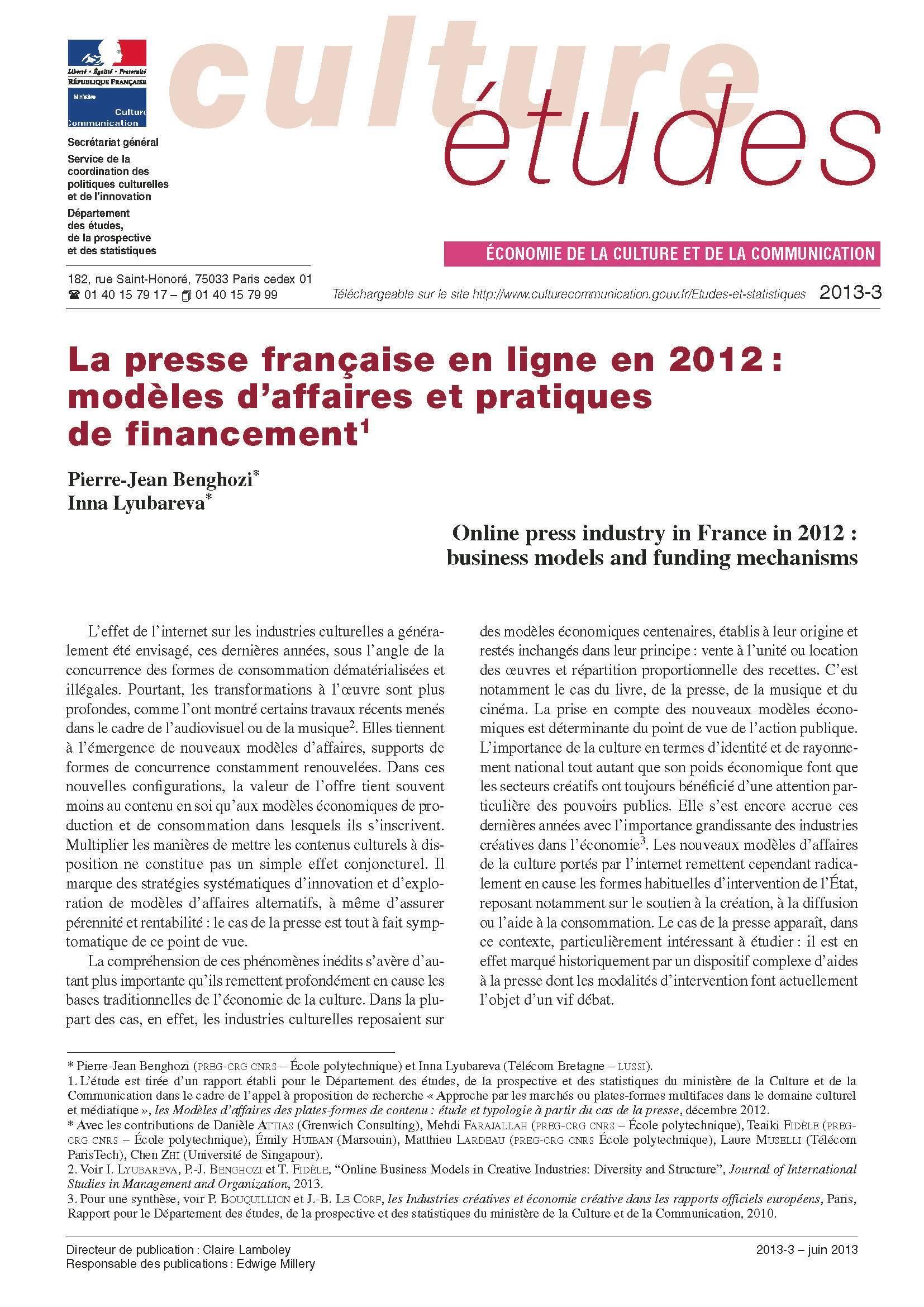La presse française en ligne en 2012 : modèles d'affaires et pratiques de financement