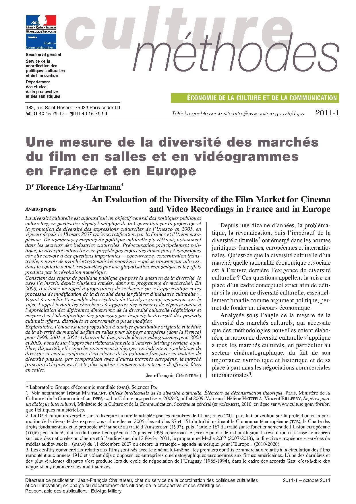 Une mesure de la diversité des marchés du film en salles et en vidéogrammes en France et en Europe