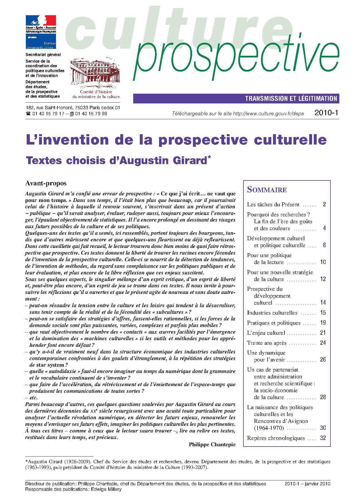 L'invention de la prospective culturelle. Textes choisis d'Augustin Girard
