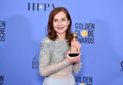 Isabelle Huppert lors des Golden Globes