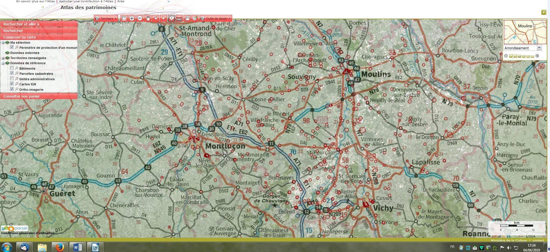 carte des périmètres de protection de monument historique Atlas des patrimoines