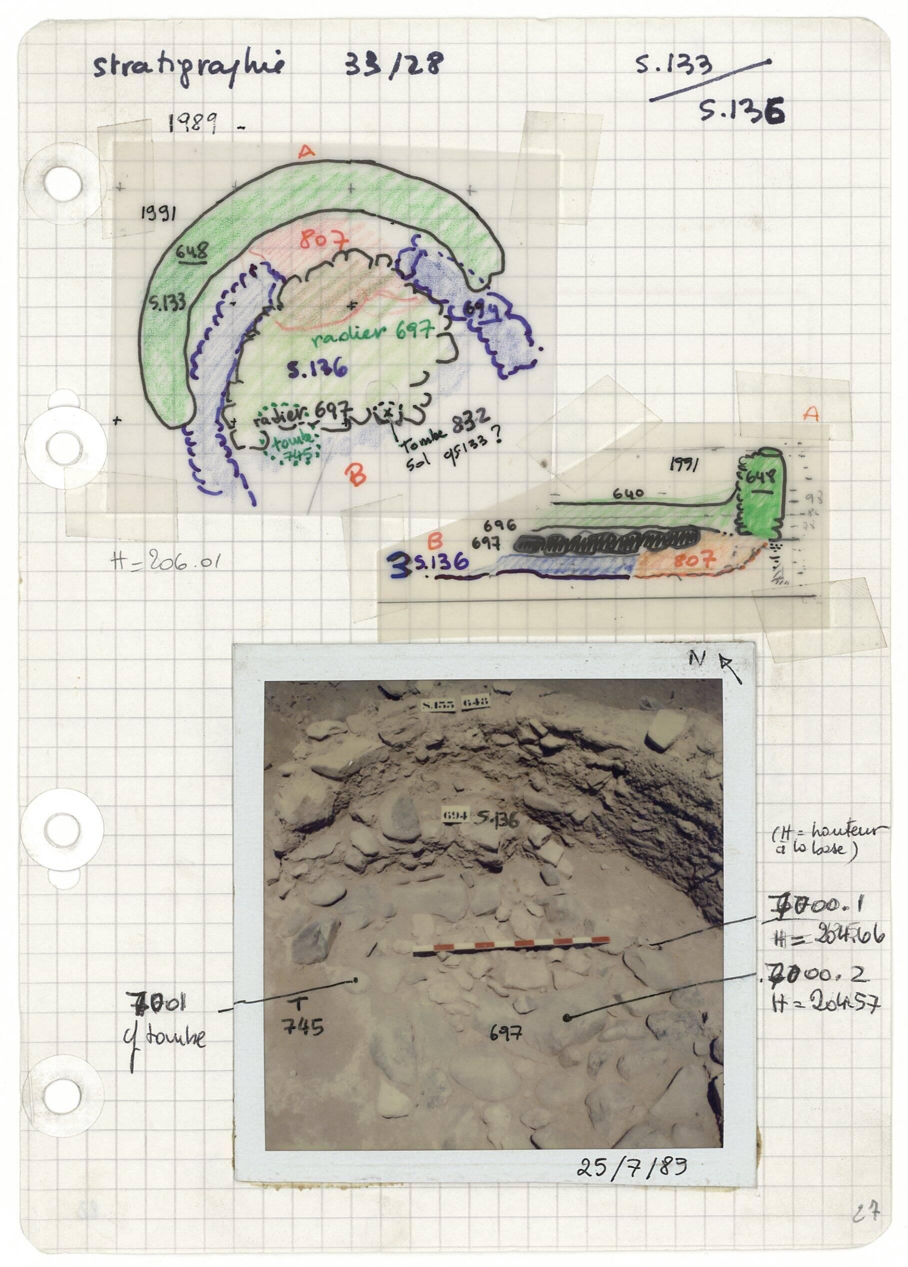 Page d'un carnet de fouilles à Khirokitia, 1989 (fonds Alain Le Brun)