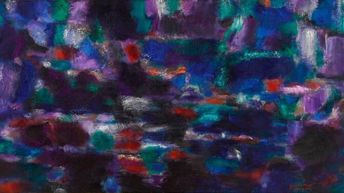 Jean Le Moal, Orage dans la nuit, 1963-1964, huile sur toile, 65×130 cm, Paris, musée d'Art moderne de la Ville de Paris