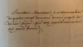 Billet autographe de Voltaire à Turgot, Contrôleur général des finances, 15 décembre 1775 (Fonds Turgot, acquis par l'Etat grâce au mécénat de la Banque de France)