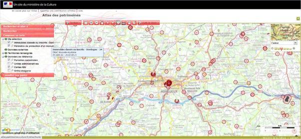 Exemple de visualisation des Monuments historiques dans l'Atlas des patrimoines