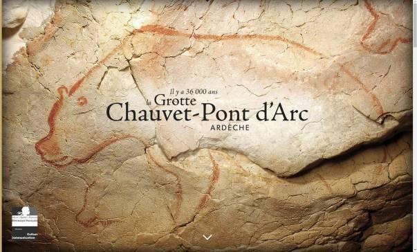 Page d'accueil du site de la grotte Chauvet-Pont d'Arc dans la collection des Grands sites archéologiques