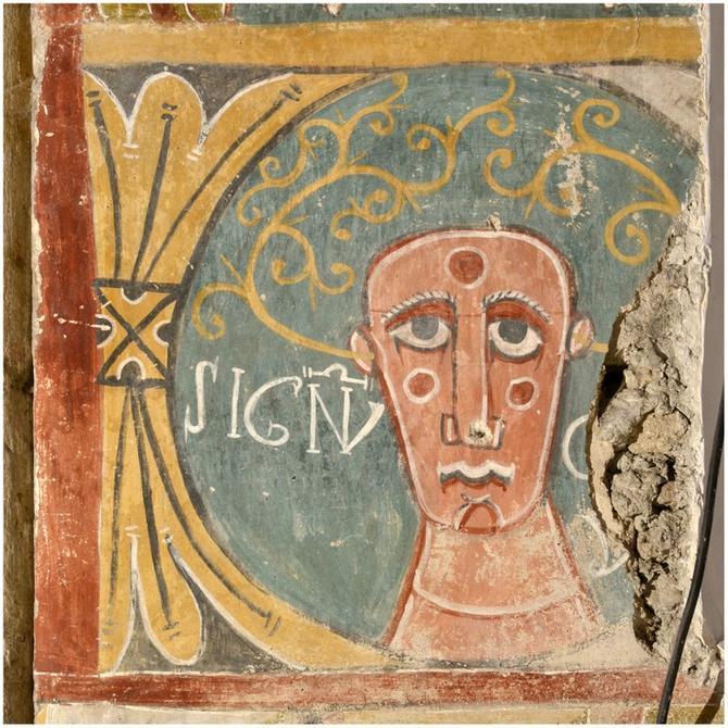 Premier médaillon de l'abside en partant de gauche. © J.-F. Peiré, Drac Midi-Pyrénées.