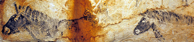 Panneau des chevaux noirs (Chv1-4), partie émergée de la grotte du Paléolithique supérieur
