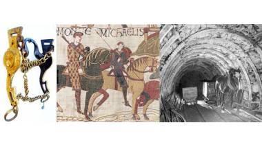trois images en bande : Mors, Cheval de Guillaume - tapisserie de Bayeux,  Cheval tirant des berlines au fond de la mine