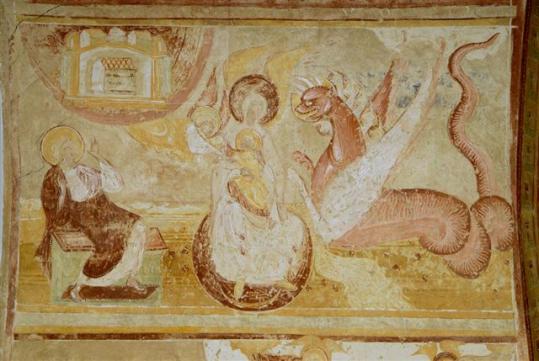 Détail d'une fresque du porche de l'abbatiale de Saint-Sébastien-sur-Loire.