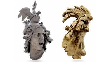 Moulage du Départ des volontaires (tête de la Renommée) © CAPA/MMF et Moulage d'une sculpture du visage de K'inich Janaab' Pakal. Phot. Germain, Claude. © Musée du quai Branly.