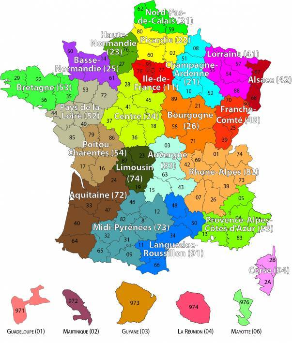 Carte Languedoc Roussillon Departements.Carte Des Codes Insee Regions Et Departements Ministere