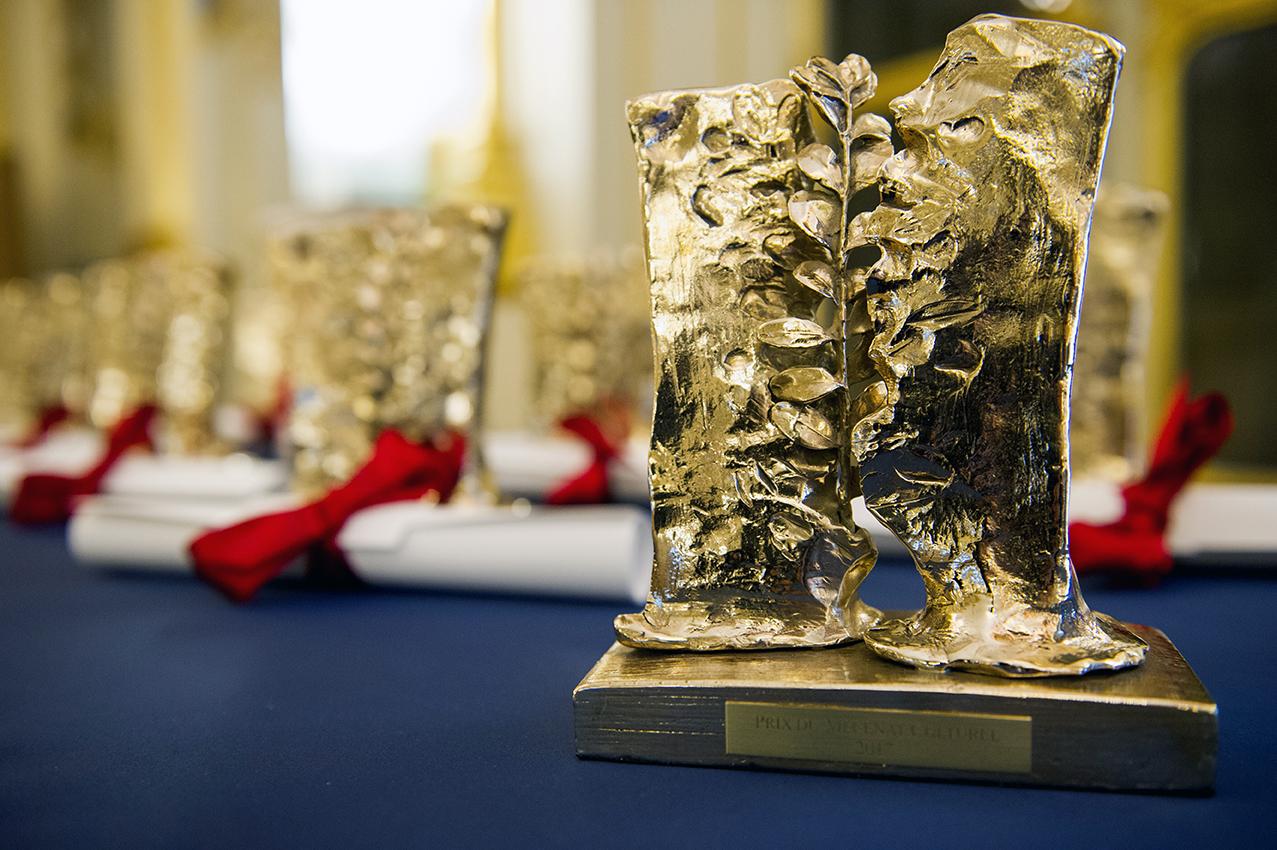Les neuf trophées et diplômes remis aux lauréats pour les prix « Un projet, un mécène » 2017