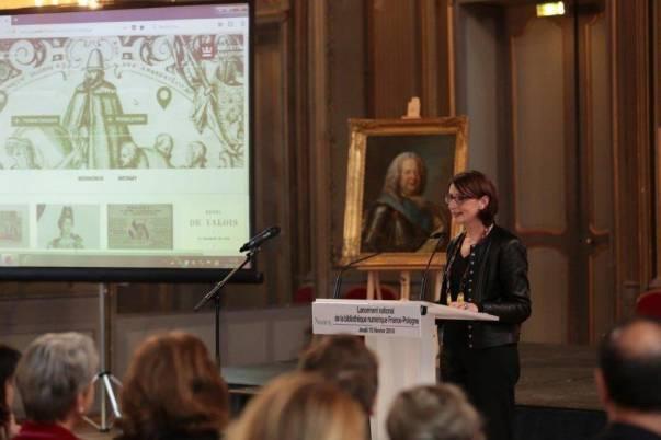 Présentation de la bibliothèque numérique France-Pologne par la Présidente de la Bibliothèque Nationale de France