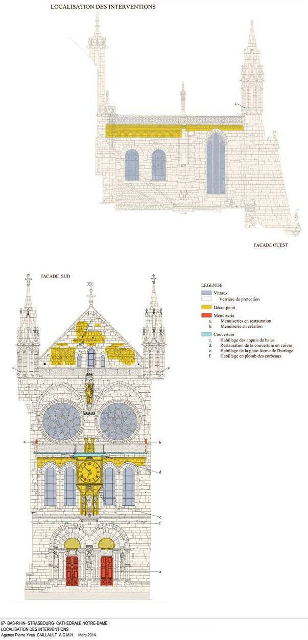 Cathédrale de Strasbourg - bras Sud du transept - localisation des interventions