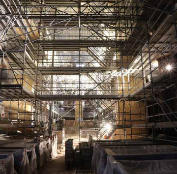 2017, travaux de restauration de la nef de la collégiale de Thann