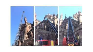 Exercice incendie à la cathédrale de Strasbourg