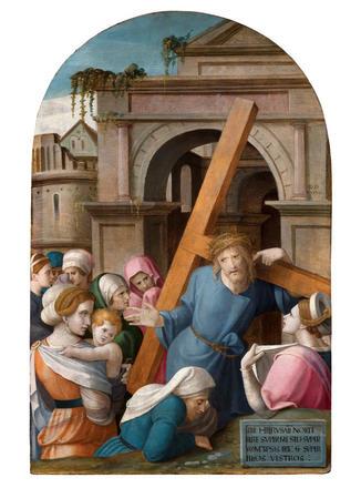Tableau de Grégoire Guérard (actif en Champagne et en Bourgogne de 1512 à 1538) et atelier (attribué à) - Le Portement de Croix. Musée de Troyes