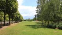 Vue dégagée sur une étendue d'herbe, avec à gauche une rangée d'arbre rectiligne et à droite des parterres entourés d'arbres