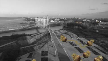 © Hera Büyüktaşçıyan, Esquisse pour le pôle Art contemporain de Dunkerque, dans le cadre de GIGANTISME — ART & INDUSTRIE, Chapitre 1 : Paysage mental, 2019, Dunkerque, France © Courtesy de l'artiste, Green Art Gallery, Dubai.