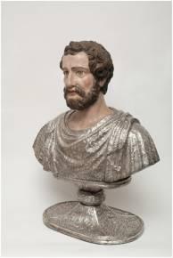 Buste-reliquaire de saint Justin. Argent sur âme de bois
