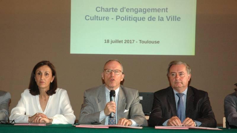 Pascal Mailhos, préfet de la région Occitanie, préfet de Haute-Garonne, Mme le maire de Colomiers et M. le maire de Toulouse