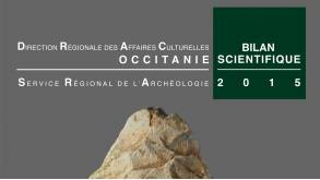 couverture biface en calcaire gréseux découvert lors des fouilles 2015 du niveau Q  de la Caune de l'Arago : niveau acheuléen de chasseurs de chevaux  et de rennes principalement, environ 550 ka.  Clichés Denis Dainat. EPCC-CERP Tautavel.
